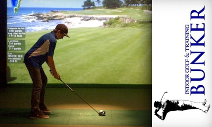 Bunker Indoor Golf & Training - Goodyear: $19 for 18 Holes of Virtual Golf and a $10 Café Credit at Bunker Indoor Golf & Training