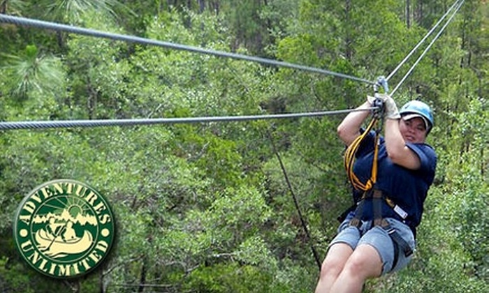 Adventures Unlimited - Munson-McLellen: $64 for The Ultimate Zip Adventure Zip-Line Tour with Adventures Unlimited ($129 Value)