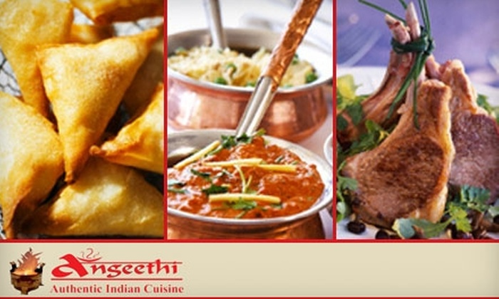 Angeethi Authentic Indian Cuisine - Multiple Locations: $15 for $30 Worth of Flavorful Fare at Angeethi Authentic Indian Cuisine. Choose Between Two Locations