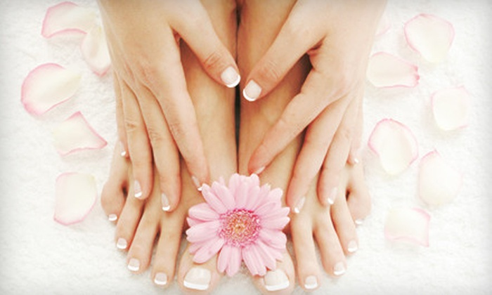 Curl Up & Dye - Rockrimmon: One or Three Spa Mani-Pedis at Curl Up & Dye (Up to 67% Off)