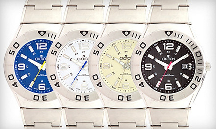 Men's Croton Watches: $49 for a Croton Watches Stainless Steel Men's Watch in Black, Blue, Ivory, or White ($225 Value)