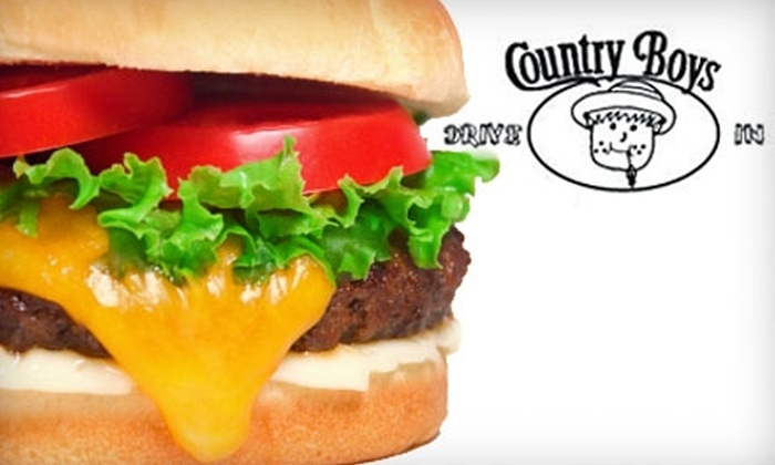 Country Boys Drive In - Park: $6 for $12 of Sandwiches, Burgers, and More at Country Boys Drive In