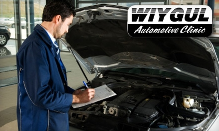 Wiygul Automotive Clinic - Multiple Locations: Oil Change with 19-Point Check, Tire Rotation, and Brake Inspection from Wiygul Automotive Clinic. Choose Standard or Synthetic Oil.