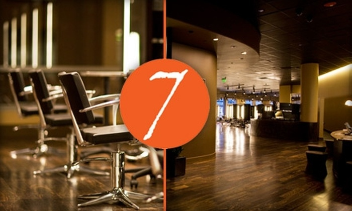 Seven the Salon - Multiple Locations: $25 for a Shampoo, Haircut, Blowout, and Drink ($50 Value), or $25 for Any Two Seven-Brand Products (Up to $56 Value) at Seven the Salon
