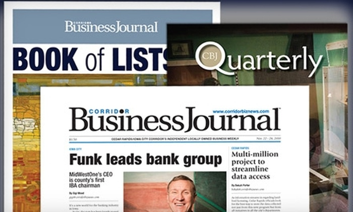 Corridor Business Journal - Cedar Rapids / Iowa City: $25 for One-Year Subscription to the Corridor Business Journal