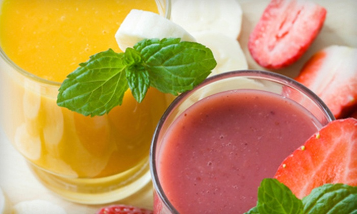Meg's Daily Grind - Multiple Locations: $13 for Five Fruit Smoothies or Blended Iced Coffees and One Pastry at Meg's Daily Grind (Up to $26 Value)