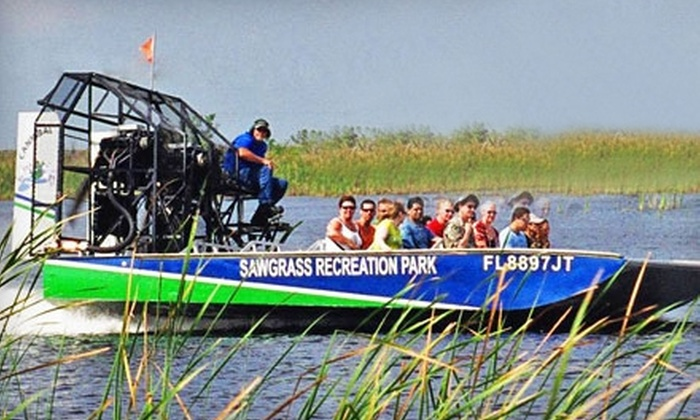 Sawgrass Recreation Park - Miami: Everglades Airboat-Tour Rides for Two at Sawgrass Recreation Park. Two Options Available.