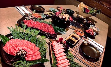 Tangier Korean BBQ: Dinner for 4 with 1 Order of Edamame, the Tangier Course Meal & 1 Large Bottle of House Hot Sake - Tangier Korean BBQ in Los Angeles