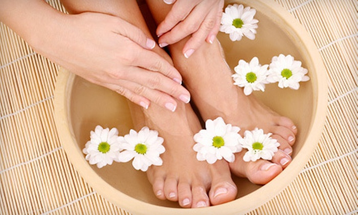 Giggles on Main - Newtown: Mani-Pedi with Option for Massage and Foot Mask at Giggles on Main (Up to 54% Off)