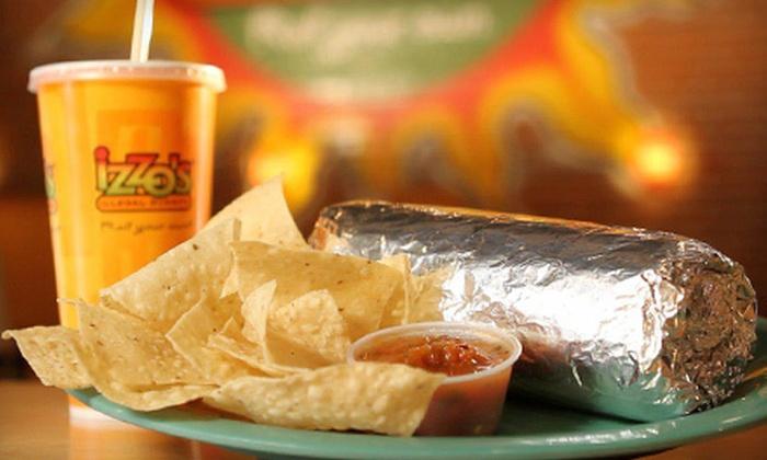 Izzo's Illegal Burrito - Birmingham: Burritos and Tex-Mex Fare or Catering at Izzo's Illegal Burrito (Half Off)