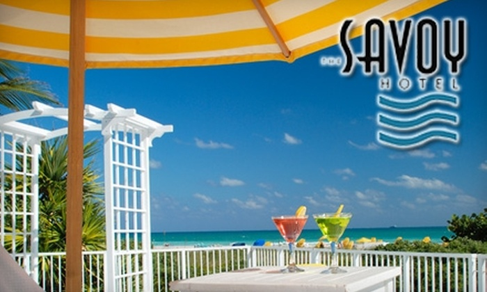 The Savoy Hotel - South Pointe: Beach Access for Two, Meals, and Drinks at The Savoy Hotel. Choose Between Two Options.