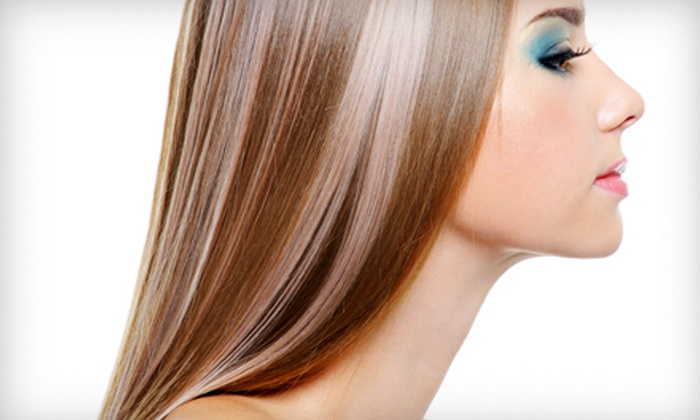 Blue Dot Salon - Lawrence: Keratin Straightening Treatment and Haircut, or Haircut and Color or Highlights at Blue Dot Salon in Lawrence