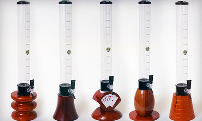 Beer Tubes: $69 for a 100-Ounce Beer Tube with Real Wood Base and Tap from Beer Tubes ($169 Value). 13 Options Available.