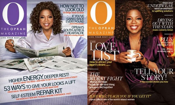 """O, The Oprah Magazine"" - Downtown: $10 for a One-Year Subscription to ""O, The Oprah Magazine"" (Up to $28 Value)"