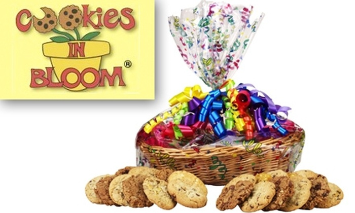 Cookies In Bloom - Lewisville: $25 for a Basket of 24 Gourmet Cookies and a Message Cookie from Cookies in Bloom