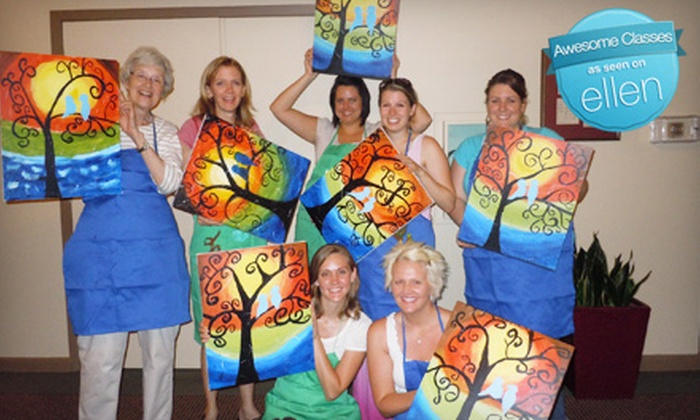 Up to 60 off wine and painting class the corky canvas for Groupon painting class