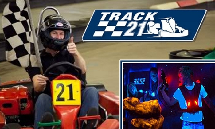 Track 21 - Energy Corridor: $15 Go-Kart Race and Laser-Tag Game at Track 21
