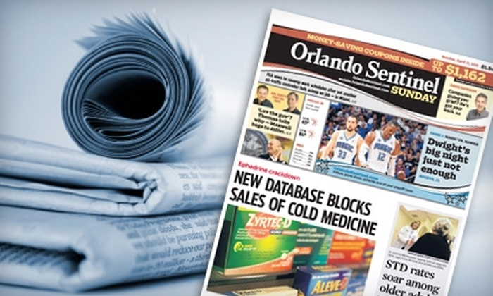 """Orlando Sentinel - Winter Park: $15 for a One-Year Weekend-Only (Friday-Sunday) Subscription to the """"Orlando Sentinel"""" ($73.84 Value)"""