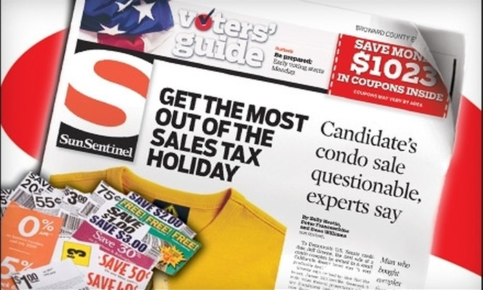 """<i>Sun Sentinel</i> - Palm Beach: $10 for a One-Year Subscription to Sunday """"Sun Sentinel"""" ($117 Value)"""