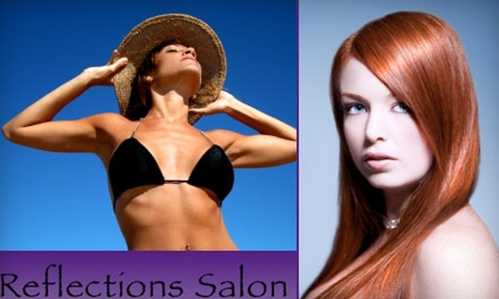 Reflections Salon and Spa - East Central: $35 for a Custom Airbrush Spray Tan, Deep-Conditioning Hair Treatment, and Finished Style at Reflections Salon and Spa