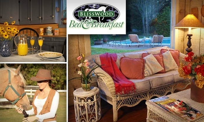 BlissWood Bed and Breakfast - Sealy: $99 for One Night Romantic Stay, Champagne, Strawberries, and Flowers at BlissWood Bed and Breakfast (Up to $299 Value)