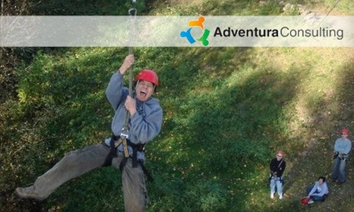 Adventura - Tourist District: $45 for a Ropes Challenge Course and Zipline Experience with Adventura ($90 Value)