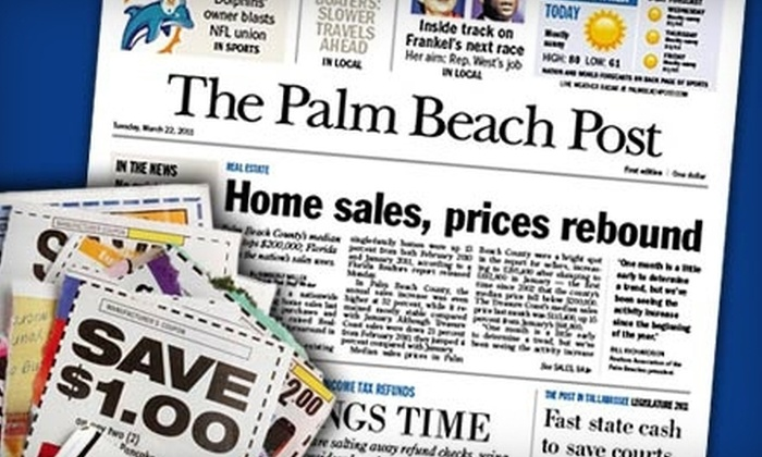 "The Palm Beach Post - Palm Beach Gardens: $34 for 26 Weeks of the Wednesday, Friday, and Sunday Editions of the ""The Palm Beach Post"" ($76.07 Value)"