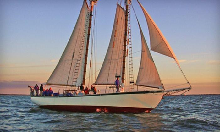 "Appledore V - Estero Island: Two-Hour Sunset and Shrimp Sailing Cruise or Three-Hour Go Fish Family Sailing Cruise for Two on the ""Appledore V"" (Up to Half Off)"
