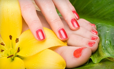Shellac Manicure and a Mini Pedicure (a $70 value) - Victoria Day Spa in Monroe