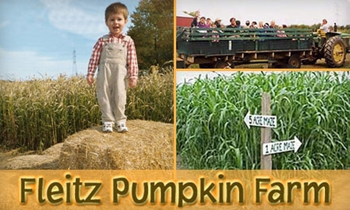 Fleitz Pumpkin Farm - Oregon: $5 for Four Corn-Maze and Four Hayride Admissions at Fleitz Pumpkin Farm (Up to $12 Value)