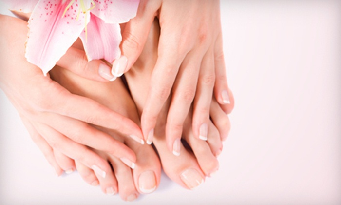 Polished 2 Paint 2 Nails - North Charleston: One or Three Mani-Pedis or One Gelish Manicure with Regular Pedicure at Polished 2 Paint 2 Nails (Up to 60% Off)
