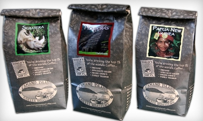 Camano Island Coffee Roasters: $45 for Three 3 lb. Shipments of Organic, Fair-Trade Coffee from Camano Island Coffee Roasters ($98.70 Value)