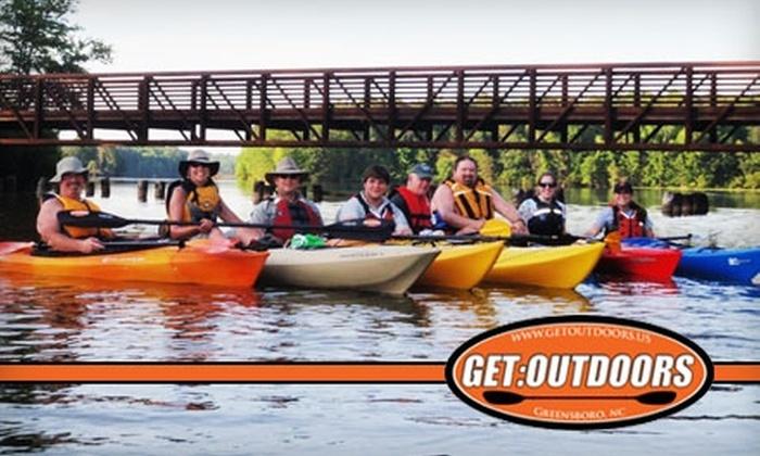 Get:Outdoors - Greensboro: 24-Hour Kayak or Canoe Rental from Get:Outdoors. Choose Between Single Kayak, Tandem Kayak, or Canoe Rental (Up to $40 Value).