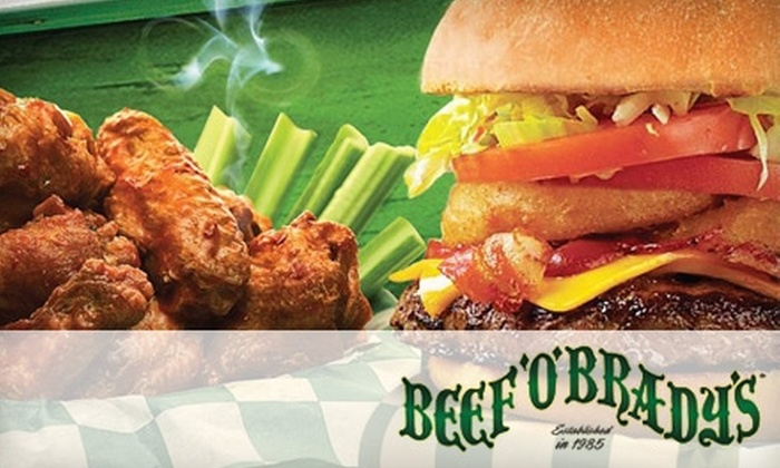 Beef 'O' Brady's - Summerville: $10 for $20 Worth of American Casual Fare at Beef 'O' Brady's