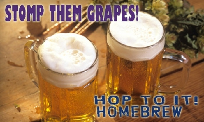 Hop to It! - Multiple Locations: $39 for a Basic Beer Starter Kit ($80 Value) or $120 for an Advanced Beer Starter Kit ($240 Value) Stomp Them Grapes! and Hop to It!