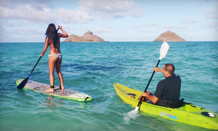 Hawaiian WaterSports - Multiple Locations: Single-Person Kayak, SUP, or Windsurfing Rental or a Kiteboarding Lesson for Two at Hawaiian WaterSports (Up to 51% Off)