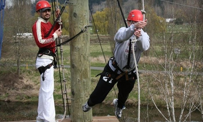 Adventura - Tourist District: $49 for Ropes Challenge Course with Zip-Line Experience and Redhook Brewery Tour from Adventura in Woodinville ($108 Value)