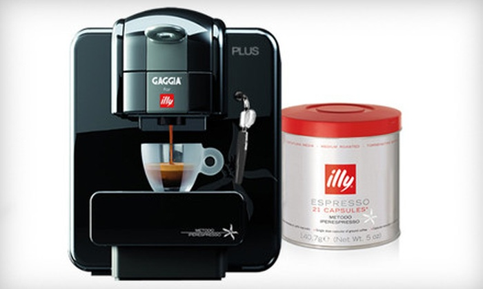Gaggia for Illy Plus Single-Serve Espresso Machine: $175 for a Gaggia for Illy Plus Single-Serve Espresso Machine with 21 Medium-Roast Capsules from Whole Latte Love ($314.99 Value). Shipping Included. Valid in Contiguous U.S. Only