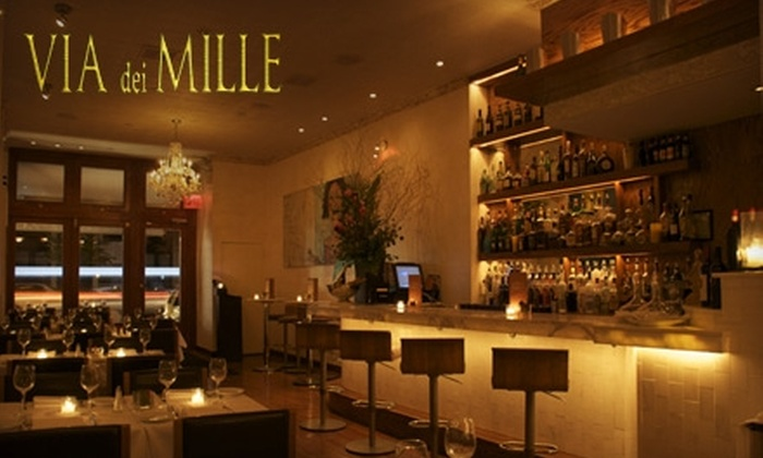 Via Dei Mille - SoHo: $20 for $40 Worth of Fine Italian Lunch and Dinner Fare at Via dei Mille (or $10 for $20 Worth of Weekend Brunch)