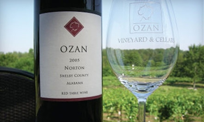 Ozan Vineyard & Cellars - Calera: $14 for Two Wine Tastings, Two Souvenir Glasses, and One Fruit-and-Cheese Platter at Ozan Vineyard & Cellars in Calera
