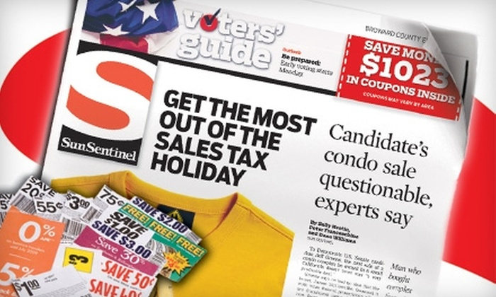 """""""Sun Sentinel"""" - Dorse Riverbend: $10 for a 13-Week Wednesday–Sunday Subscription to the """"Sun Sentinel"""" ($60.32 Value)"""