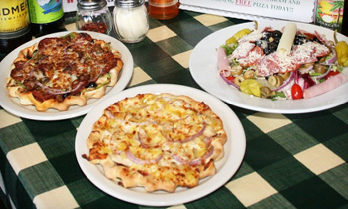 The Gourmet Pizza Shoppe - Multiple Locations: Three Pizza Lunches, or Pizza Dinner for Two, Four, or Six at The Gourmet Pizza Shoppe in Yucaipa (Up to 57% Off)