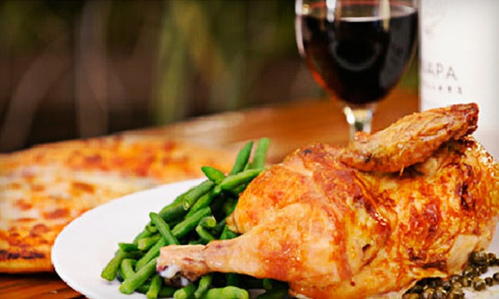 Sonoma Chicken - San Jose: $36 for a Casual-Cuisine Meal for Two with Appetizer, Entrees, and Two Glasses of House Wine at Sonoma Chicken (Up to $72.49 Value)