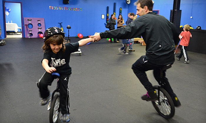 Just One Wheel - Melville: Three Group Unicycle Training Sessions with or without Open-Play Sessions at Just One Wheel in Plainview (Up to 61% Off)