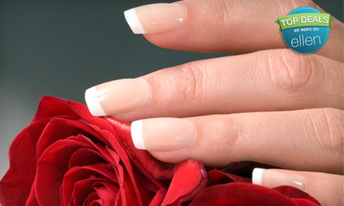 Nails by Amanda at Deeva Hair - Cambridge: French UV Gel Nails Package with One Fill, Mani-Pedi, or Full Set of French UV Gel Nails at Nails by Amanda at Deeva Hair (Up to 54% Off)