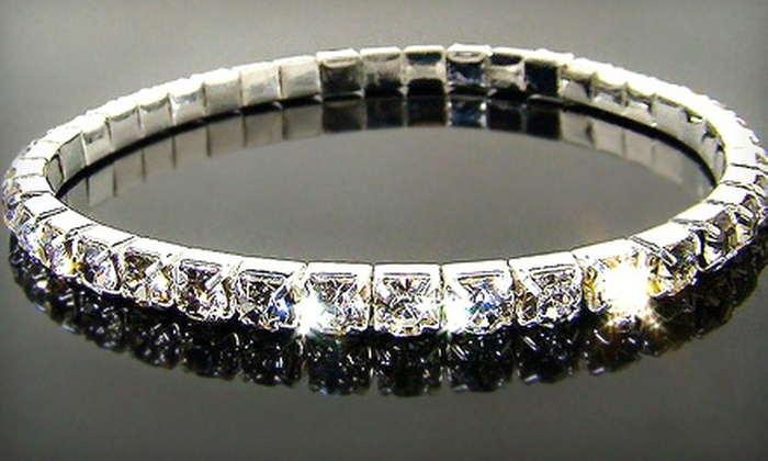 Innovative Commerce Solutions: Single- or Double-Tier Bracelet Made with Swarovski Crystals (Up to 71% Off). Shipping Included.