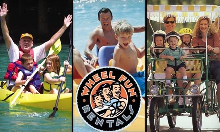 Wheel Fun Rentals - Multiple Locations: $15 for $34 Worth of Boat, Kayak, Canoe, Bike, or Surrey Rentals at Wheel Fun Rentals