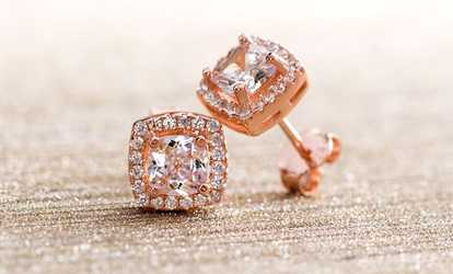 a5dbb3036 Shop Groupon Lesa Michele Rose Gold Plated Halo Studs with Swarovski  Elements