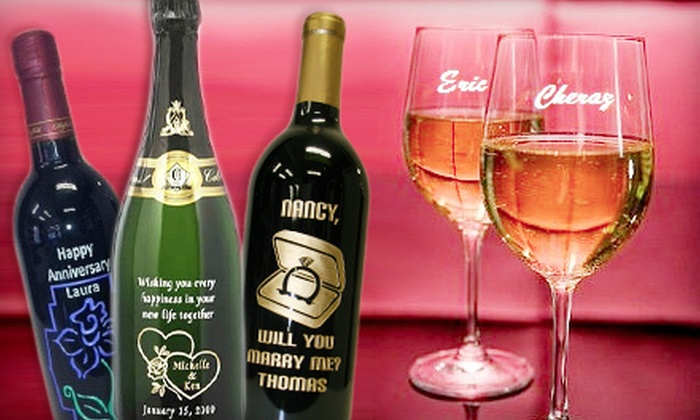 Master Engravers - Falls Church: $95 for One Engraved Wine Bottle and Two Engraved Wineglasses from Master Engravers (Up to $195 Value)
