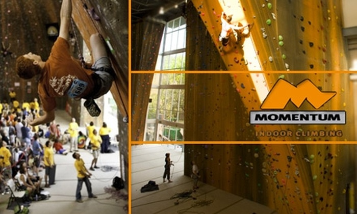 Momentum Indoor Climbing - Sandy: $10 for a One-Day Pass and Gear Rental at Momentum Indoor Climbing (Up to $20 Value)